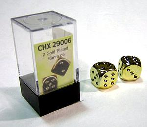 Dice 2D6 Set - Metal Plated Gold