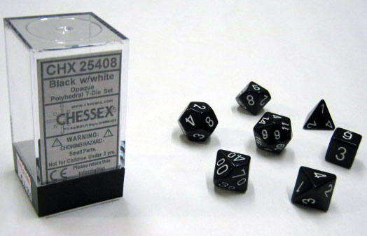 Dice 7-Piece Polyhedral Set - Opaque Black w/White