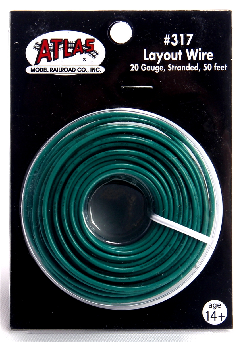 50' Green 20 Gauge Stranded Layout Wire (317)