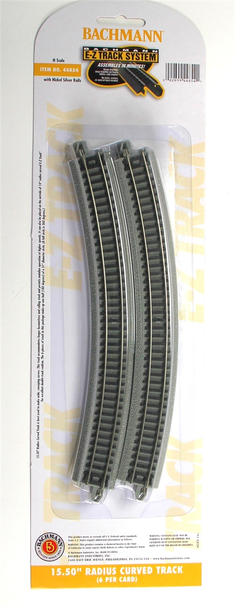 "15.50"" Radius Curved Track with Nickel Silver Rail & Gray Roadbed [6 Pieces] (44854)"