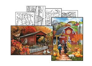 The Old Covered Bridge & Valley Farm [with Coloring Pages] (10610)