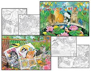 SUNSOUT Puzzle Set 500 & 500 Piece with 4 Coloring Pages - Swingin' into Summer & Fish Pond Pals (10620)