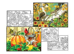 SUNSOUT Puzzle Set 500 & 500 Piece with 4 Coloring Pages - October Garden & Autumn Romance (10635)