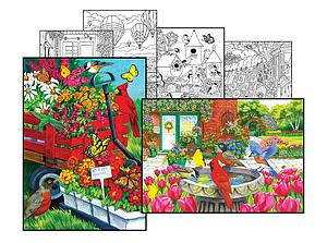 SUNSOUT Puzzle Set 500 & 500 Piece with 4 Coloring Pages - Friends at the Garden Shop & Red Wagon Sale (10645)