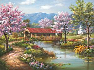SUNSOUT Puzzle 300 Piece Covered Bridge in Spring (36604)