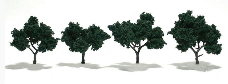 "2-3"" Dark Green Trees [4 Pack] (1505)"