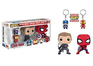 Pop! Marvel Captain America Civil War Vinyl Bobble-Head: Captain America, Iron Man, Hawkeye and Spider-Man 4-Pack