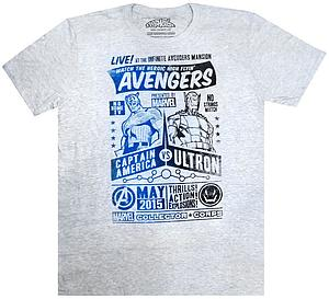Pop! Tees Avengers Captain America Tee (Gray T-Shirt) (L) Marvel Collector Corps Exclusive