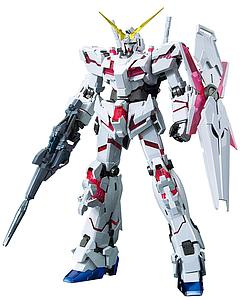 Gundam Master Grade Gundam Unicorn 1/100 Scale Model Kit: RX-0 Unicorn Gundam Red + Green Frame (Titanium Finish)