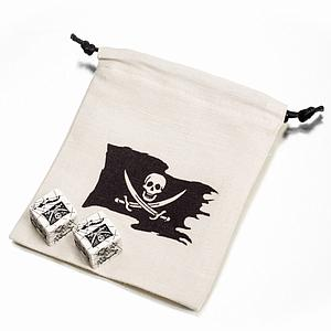 Pirate 2D6 dice & Linen bag: White & Black