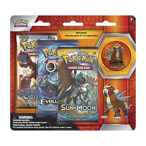 Pokemon Trading Card Game: Entei 3-Pack Blister with Pin