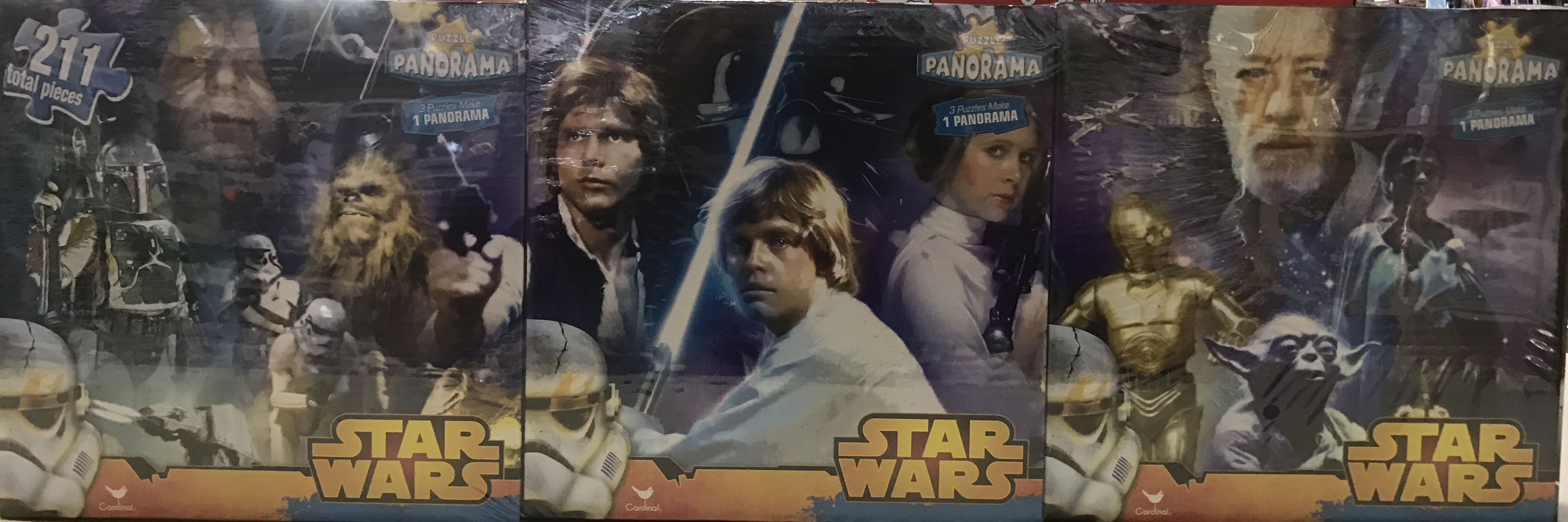 Puzzle Star Wars Original Trilogy 3 in 1 Panorama Puzzle Set 211 Total Pieces