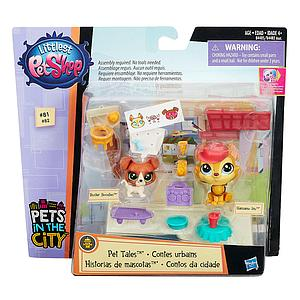 Littlest Pet Shop Pets in the City Pet Tales Hansamu Inu #81 & Buster Boodles #82