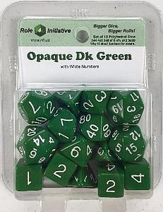 Set of 15 Dice: Opaque Dark Green with White Numbers