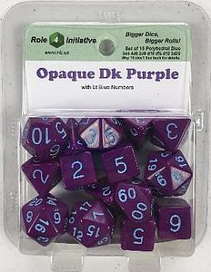 Set of 15 Dice: Opaque Dark Purple with Light Blue Numbers