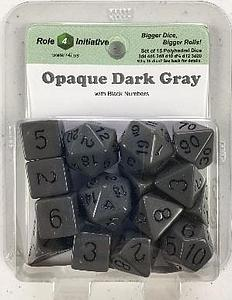 Set of 15 Dice: Opaque Dark Gray with Black Numbers