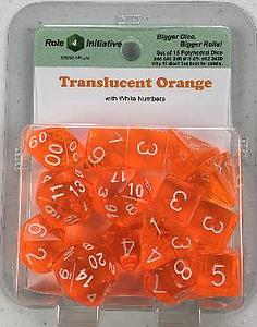 Set of 15 Dice: Translucent Orange with White Numbers