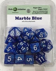 Set of 15 Dice: Marble Blue with White Numbers