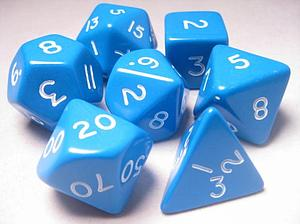 Jumbo Polyhedral Dice 7 Piece Set: Blue/White