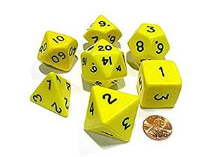 Jumbo Polyhedral Dice 7 Piece Set: Yellow/Black