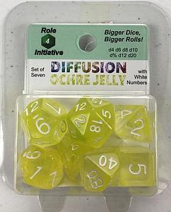 Set of 7 Dice: Diffusion Ochre Jelly with White Numbers
