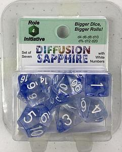 Set of 7 Dice: Diffusion Sapphire with White Numbers