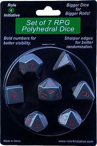 Set of 7 Dice: Opaque Dark Gray with Red Numbers