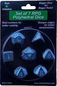 Set of 7 Dice: Opaque Dark Gray with Light Blue Numbers