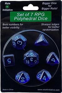 Set of 7 Dice: Translucent Dark Blue with Light Blue Numbers