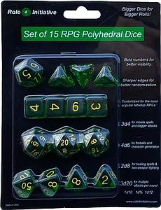 Set of 15 Dice: Translucent Dark Green with Light Blue Numbers