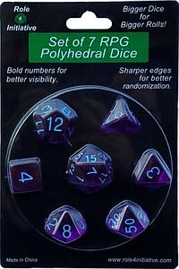 Set of 15 Dice: Translucent Dark Purple with Light Blue Numbers