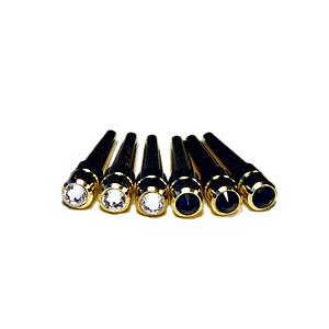 Brass Cribbage Pegs with Swarovski Austrian Crystals & Velvet Pouch – Set of 6 (3 Black, 3 Clear)