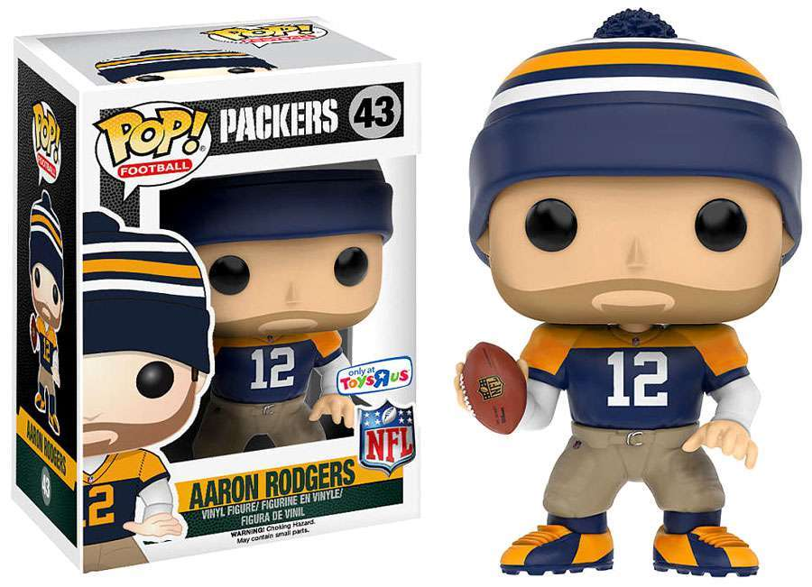 Pop Football Nfl Vinyl Figure Aaron Rodgers Throwback Green Bay Packers 43 Toys R Us Exclusive