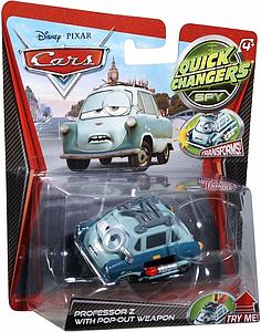 Mattel Disney Cars Die-Cast 1:55 Quick Changers Scale Toy: Professor Z w/ Pop Out Weapons