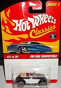 Hot Wheels Classics Series 2 Cars Die-Cast: VW Bug Convertible (Black)