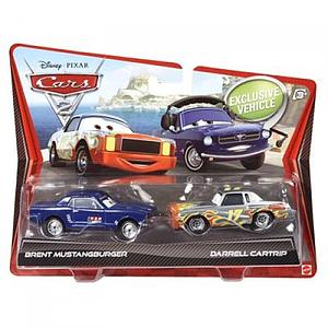 Mattel Disney Cars Die-Cast 1:55 Scale 2-Pack Toys: Brent Mustangburger & Darrel Cartrip