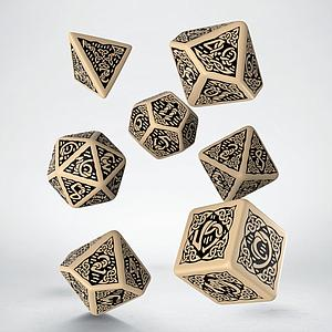 Celtic 3D Revised 7-Dice Set: Beige & Black