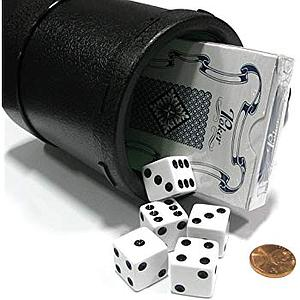 Dice Cup with 5 Dices and Playing Cards