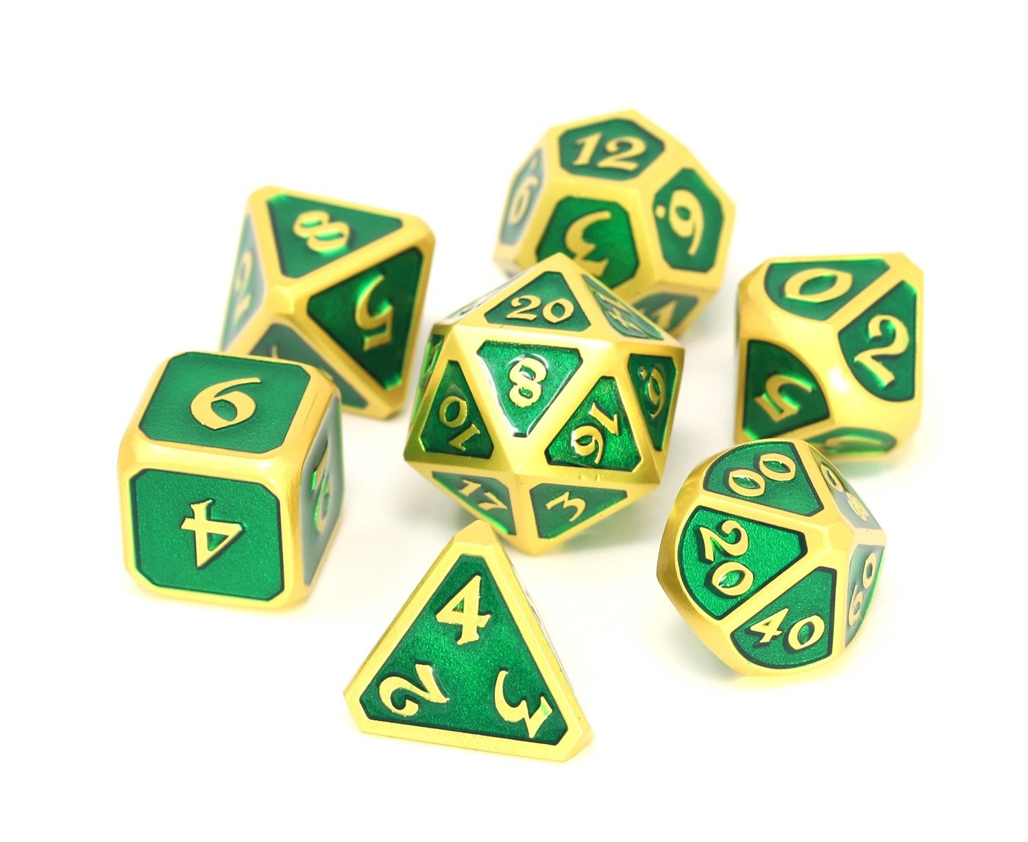 Metal Mythica 7-Dice Set: Satin Gold Emerald