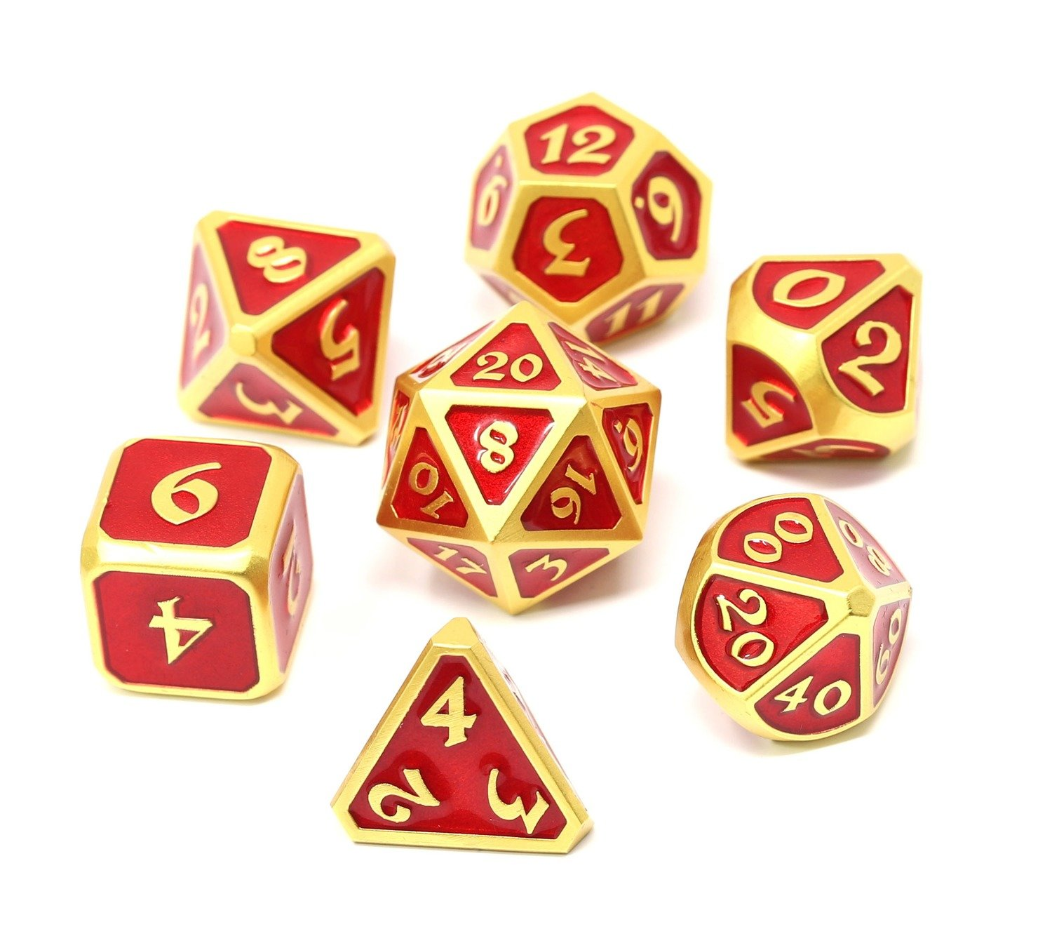Metal Mythica 7-Dice Set: Satin Gold Ruby