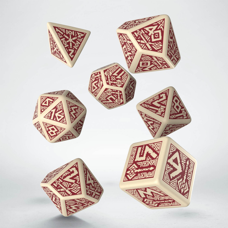 Dwarven Dice Set: Bottle - Beige/Burgundy