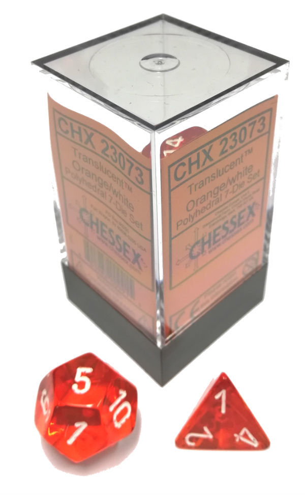 Translucent 7-Dice Set: Orange/white