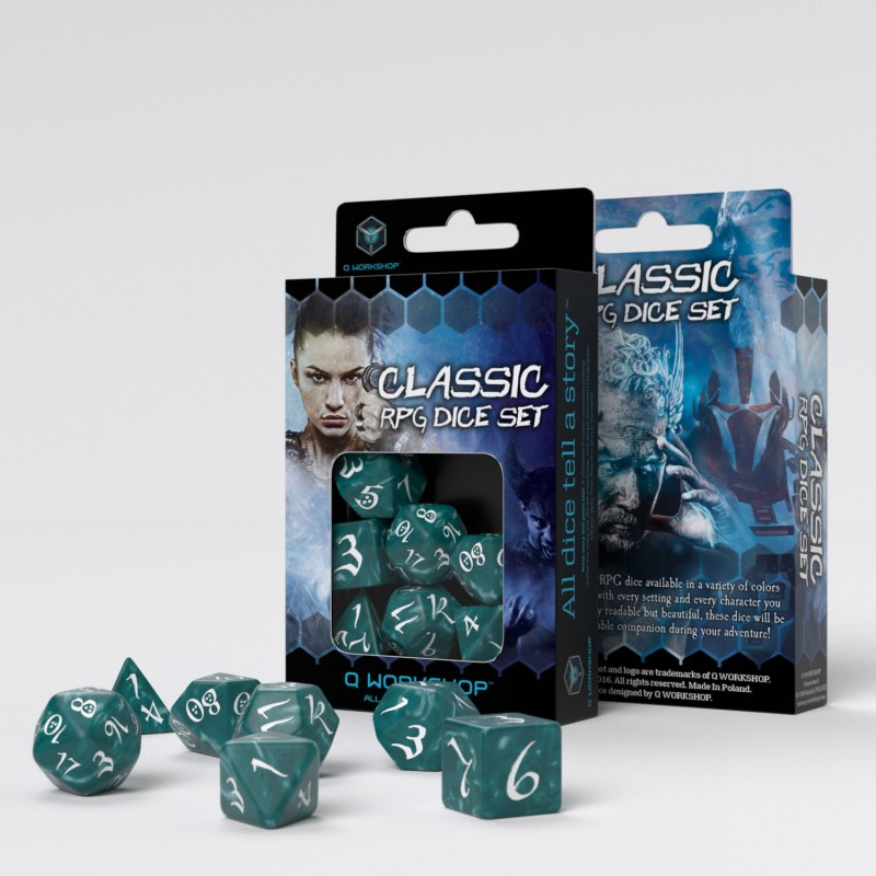 Classic RPG 7-Dice Set: Stormy & White