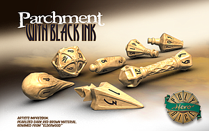 PolyHero Dice Wizard Set: Parchment with Black Ink