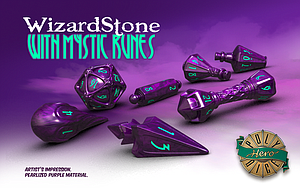 PolyHero Dice Wizard Set: WizardStone with Mystic Runes