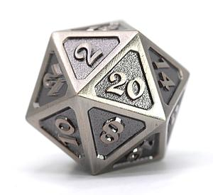 Big D20 - Mythica Battleworn Silver