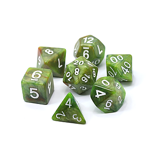 Poly RPG 7-Dice Set: Moss