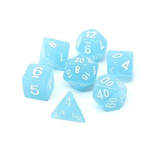 Poly RPG 7-Dice Set: Sky Blue Glimmer