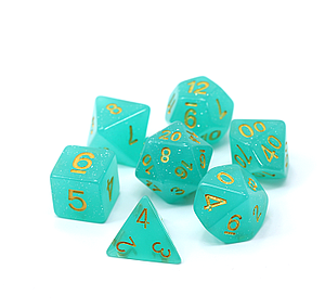 Poly RPG 7-Dice Set: Teal Glimmer