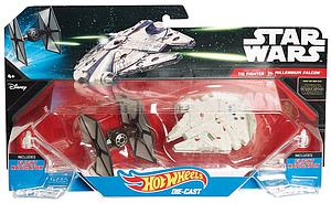 Hot Wheels Die-Cast Star Wars The Force Awakens 2-Pack First Order Tie Fighter vs Millennium Falcon